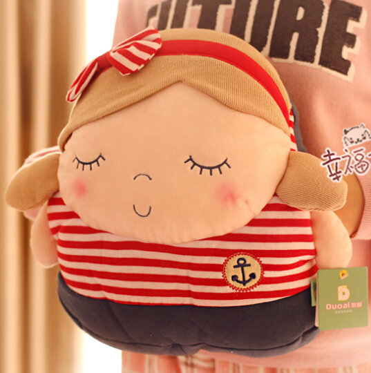 Super cute 1pc 33cm cartoon sweet navy girl and boy plush hold doll hand warm pillow stuffed toy soft children baby gift