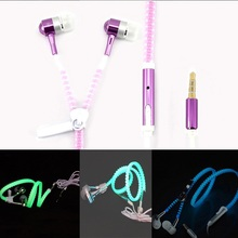 2015 New Metal Zipper Earphone luminous Glow In The Dark Earphones auriculares With mic for Apple