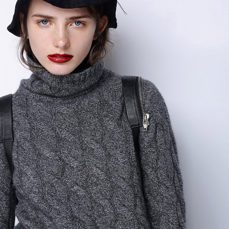 2019 Autumn And Winter New Style Turtleneck Cable Cashmere Sweater Female Loose Thick Long Sleeve Sweater Pullover Solid Color in Pullovers from Women 39 s Clothing