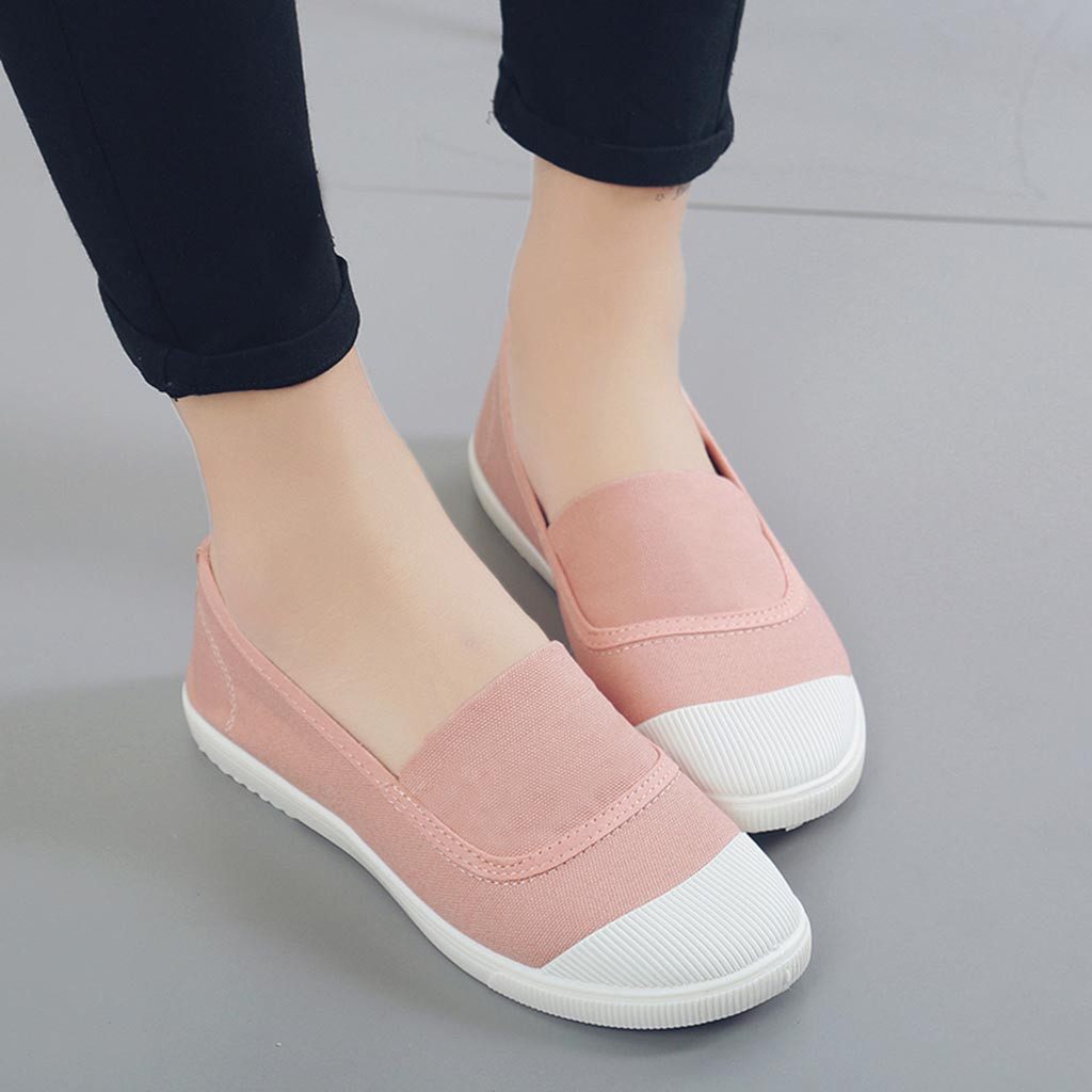 Women Casual Canvas Shoes Flats Shallow Slip On Girl Shoes Loafer US Size 5-9