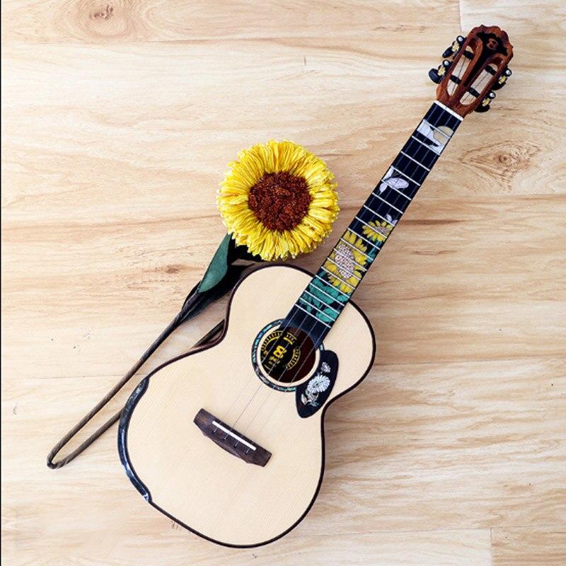 23 Inches Rosewood Beginner Ukulele Sunflower Pattern Fingerboard