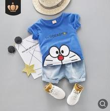 2019 Summer New Children Outfits Cute Cartoon Robot Cat Short Sleeve Suit Toddler Baby Clothes Costume for Kids 0-4Y SY-F192222