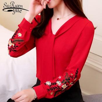 2d78247a970 Модные женские блузки 2019 с длинным рукавом шифон Женщины блузка рубашка  офис леди рубашки женские топы blusas красный ПР блузка 0547 30