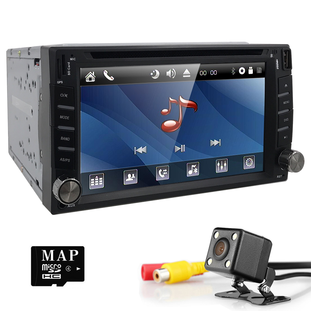 universal Car Radio Double 2 din Car DVD Player GPS Navigation In dash Car PC Stereo Head Unit video+Free Map+Free Cam! BT SWC 2 din car dvd frame dashboard kits front bezel radio frame adaper dvd cover dash trim kit for kia rio 5 door rhd double din