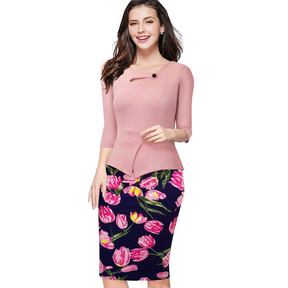 a69ec25f97 Summer Elegant Women Business Dress Pink Print Floral Tunic Bodycon Sheath  Casual Pencil Dresses Plus Size B288-in Dresses from Women's Clothing & ...