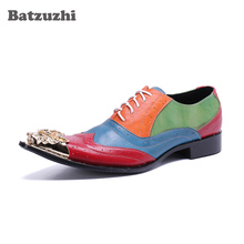 Batzuzhi Luxury Italian Style Men Dress Shoes Pointed Gold Iron Toe Genuine Leather Business Shoes Formal Lace-up Zapatos Hombre heinrich the new listing brand luxury genuine leather men shoes pointed toe hasp male wedding dress shoes zapatos de hombre