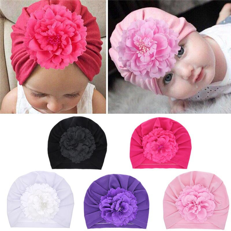 Baby Cotton Blends Headband Soft Pearl Bowknot Turban Hair Bands For Children Girls Elastic Headwrap Baby Turban Hair Accessorie
