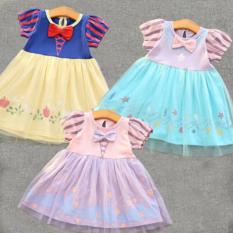 Kids Princess Snow White Rapunzel cinderella font b dress b font Baby Girls Kids Clothes Summer