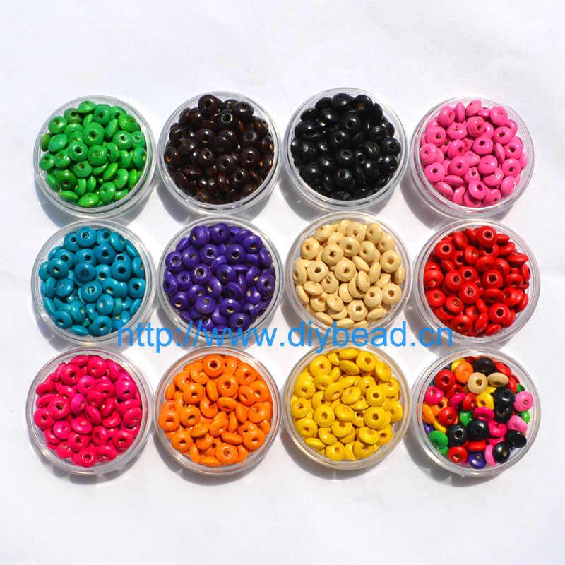 200 adet/grup DIY moda takı parçaları 8MM ahşap boncuklar yuvarlak Spacer tekerlek boncuk el yapımı bilezik aksesuarları Mix renk