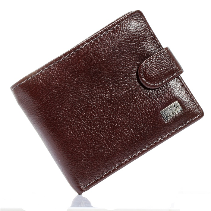 Brown Coffee Soft Real Genuine Cowhide Leather Bifold s
