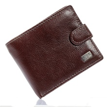Brown Coffee Soft Real Genuine Cowhide Leather Bifold Wallet Men Wallets Coin Purses Credit Cards Holder Pocket billetera hombre