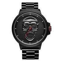 Reloj negro 3D Relogio Masculino  relojes de cuarzo con estilo de calavera pirata para hombre  reloj deportivo de acero militar resistente al agua 2018 Relojes deportivos     -