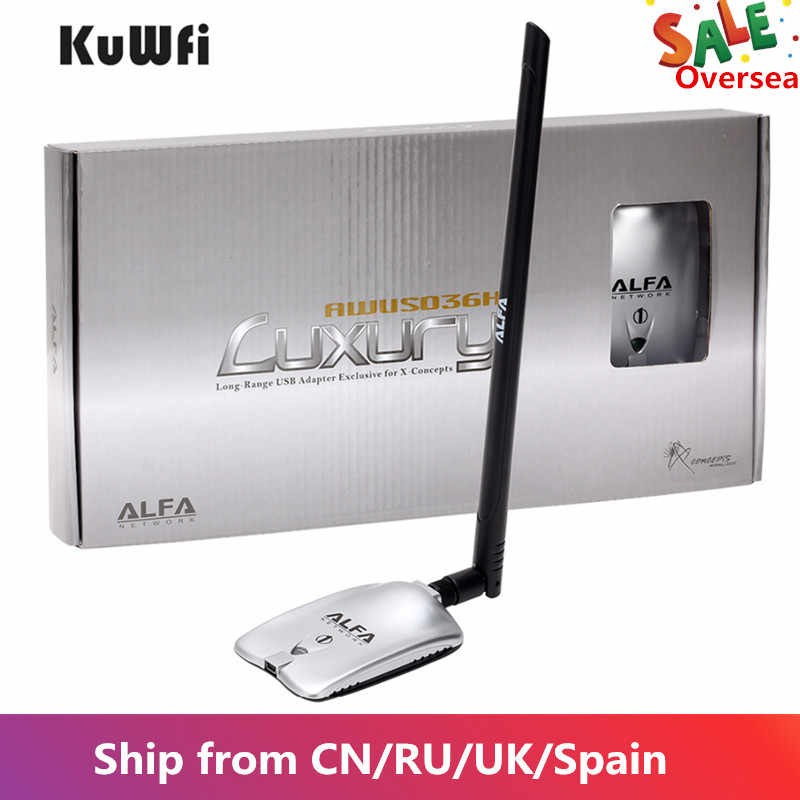 AWUS036NH Mewah Alfa Adaptor Jaringan Ralink3070L 2.4 GHz High Power Wireless USB WIFI Adaptor 2 * 8dBi Antena dengan Panjang rentang