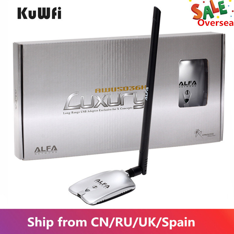Awus036nd lujo ALFA adaptador de red Ralink3070L 2,4 Ghz de alta potencia inalámbrico USB Wifi Adaptador 2 * 8dBi antena con largo rango de
