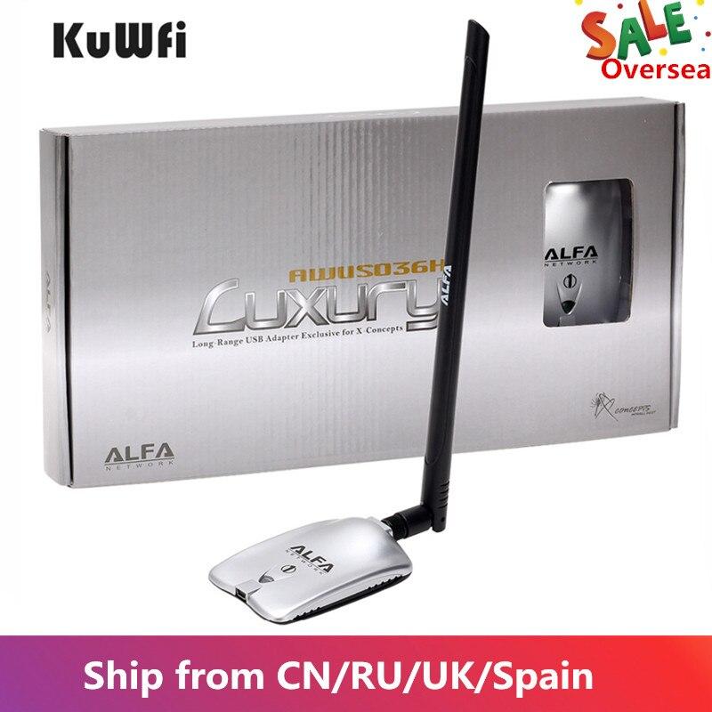 Awus036nh luxo alfa adaptador de rede ralink3070l 2.4 ghz alta potência sem fio usb wifi adaptador 2 * 8dbi antena com longo alcance