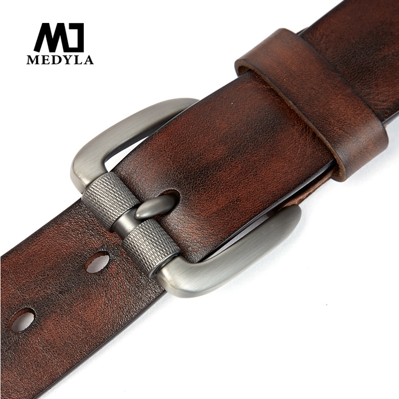 MEDYLA Men's Belt Vegetable Tanned Layer Leather Belt Pin Buckle Washed Retro Denim Pants Belt