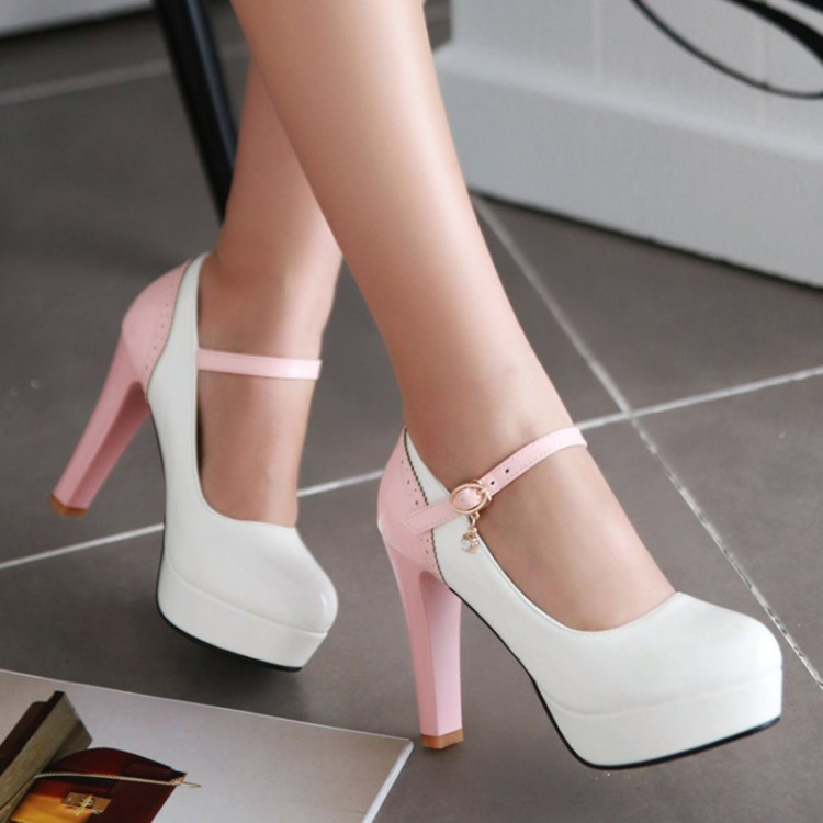 2016 new spring  women pumps high heels Women's shoe round shallow mouth buckle wedding shoes big size 42 43 platform color shoe new fashion spring autumn women shoes platform high heels buckle strap thick heels pumps lady shoes small big size 31 43 0061