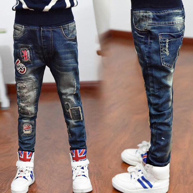 New Autumn Winter Fashion Causal Kids Jeans Long Pants Letter Baby Boys Children Jeans Trousers Children Denim Clothing XL593
