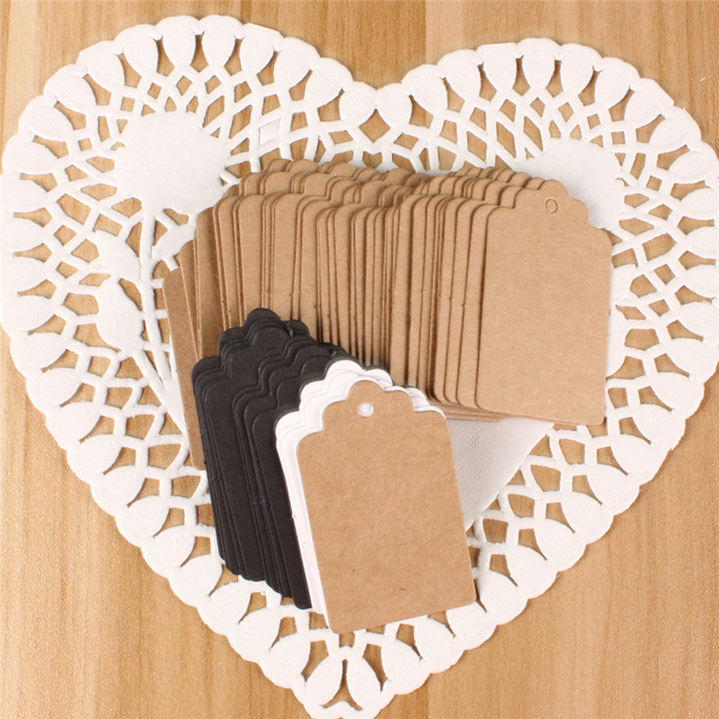 100pcs/Lot 2*4cm Paper Gift Tags Card White Scallop Festival Party Birthday Wedding DIY Decor Blank Mini Luggage Label P30