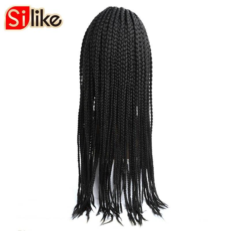 Silike 24 окно косы Синтетический Frontal шнурка волос Парик 350 г химическое Регулируемый Размеры Американский афро плетение волос для черных Для ...