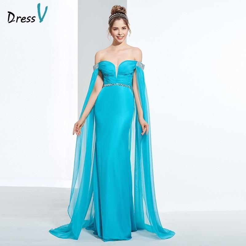 Dressv dark blue watteau train long   prom     dress   sheath beading pleats sequins off the shoulder evening party   dress     prom     dresses