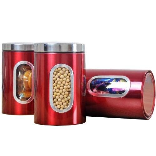 Nocm 3pcs Stainless Steel Window Canister Tea Coffee Sugar Nuts Jar Storage Set Red