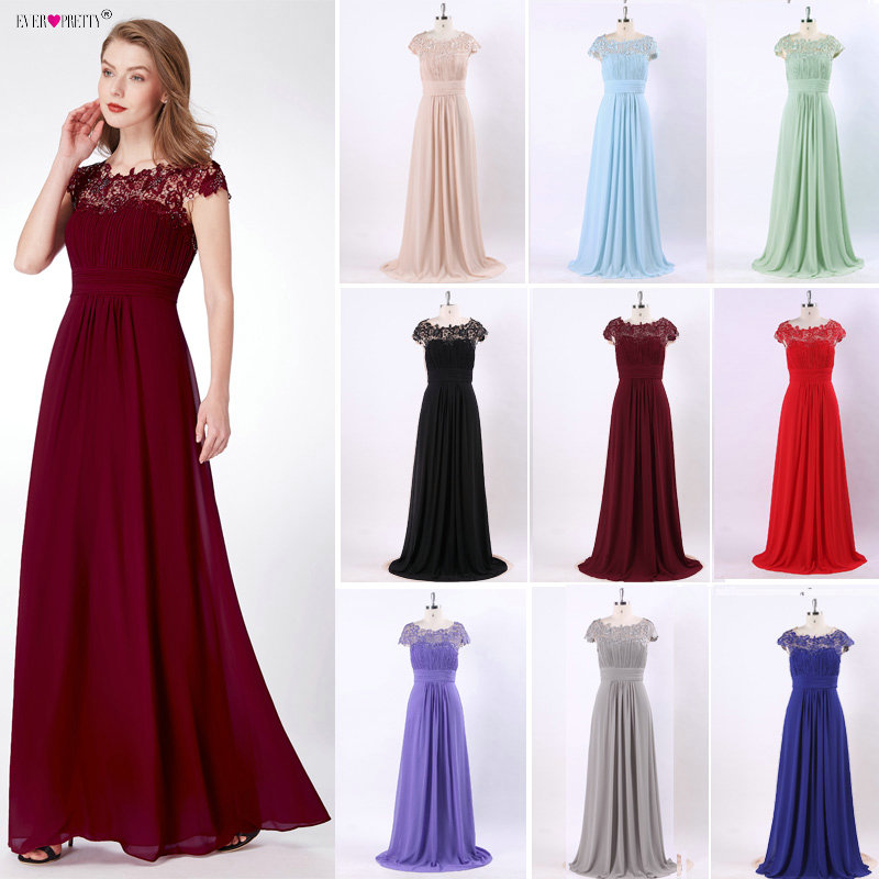 Aftonklänningar Mode Ever Pretty Purple EP09993 Chiffon Open Back Elegant Lång 2018 Högkvalitativa Formella Occasion Party Kjoler
