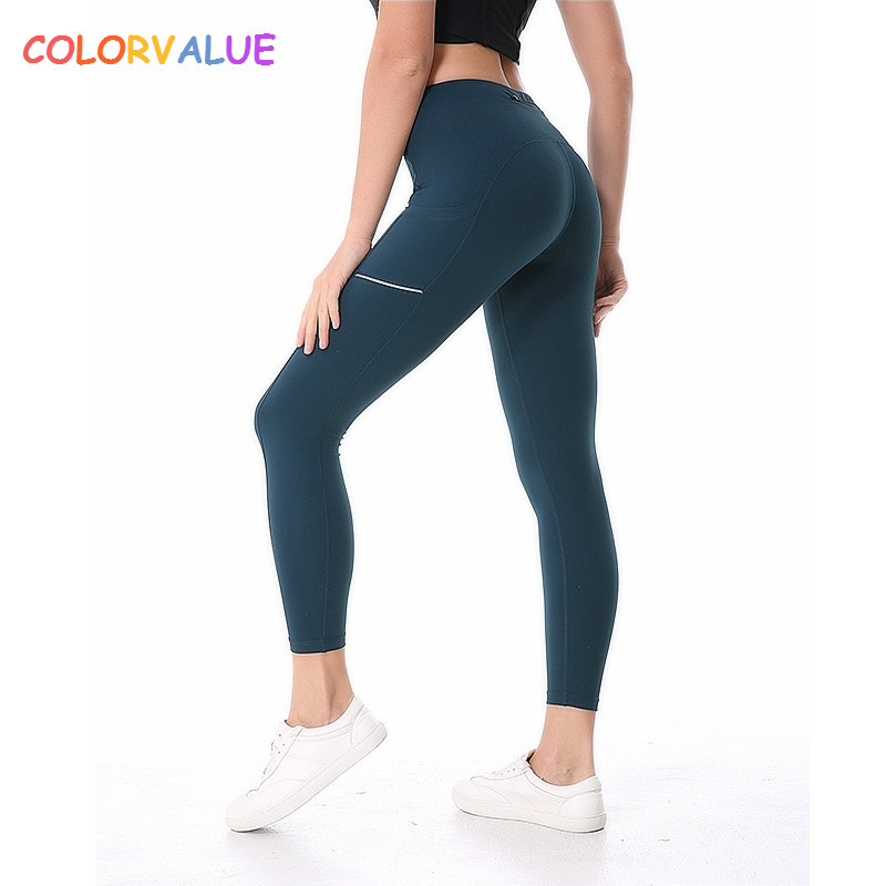Colorvalue Side Reflective Running Sport Tights Women Anti-sweat Nylon Fitness Yoga Pants Plus Size Gym Athletic Leggings XS-XL colorvalue solid sport fitness leggings women high stretchy yoga pants nylon mesh gym athletic leggings with triangle crotch
