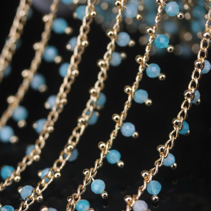 Naturais Cadeia Rodada Beads Rosário, cor do