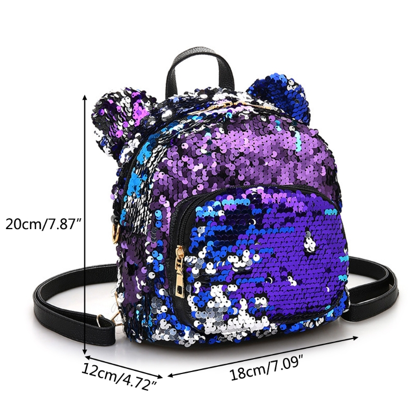 High Quality Fashion Colorful Women Girls Sequins Mini Backpack School Satchel Travel Shoulder Bag Rucksack 2019 New in Backpacks from Luggage Bags