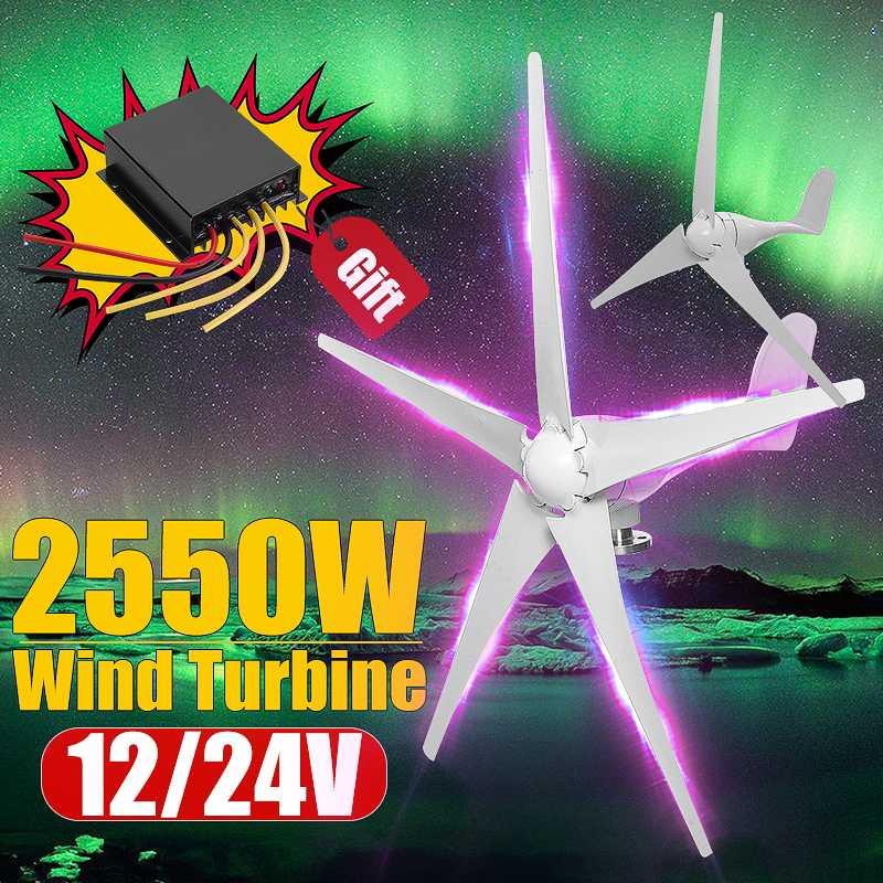 2550 W 12/24/48 V Opção de Turbinas de Energia Eólica Gerador de 3/5 Lâminas de Vento Com Controlador de Carga À Prova D' Água apto para Casa Ou Camping