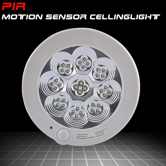 New AC220V 8W white light pir infrared motion sensor ceiling light Detection distance 5 8m ET091