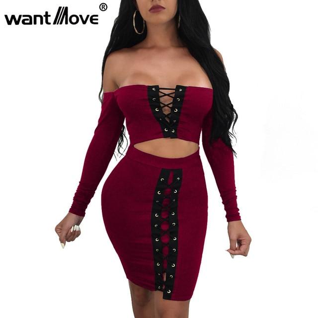 Wantmove 2017 Летнее модное платье пикантные на шнуровке с длинными рукавами мини-платье Женщины Bodycon клуб платья для женщин Vestidos JZ083