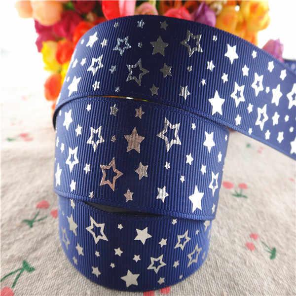 """1 """"25 millimetri 10 yards glitter argento sventare la stars stampato grosgrain regalo del nastro di imballaggio FAI DA TE materiali realizzati a mano YM18010115"""