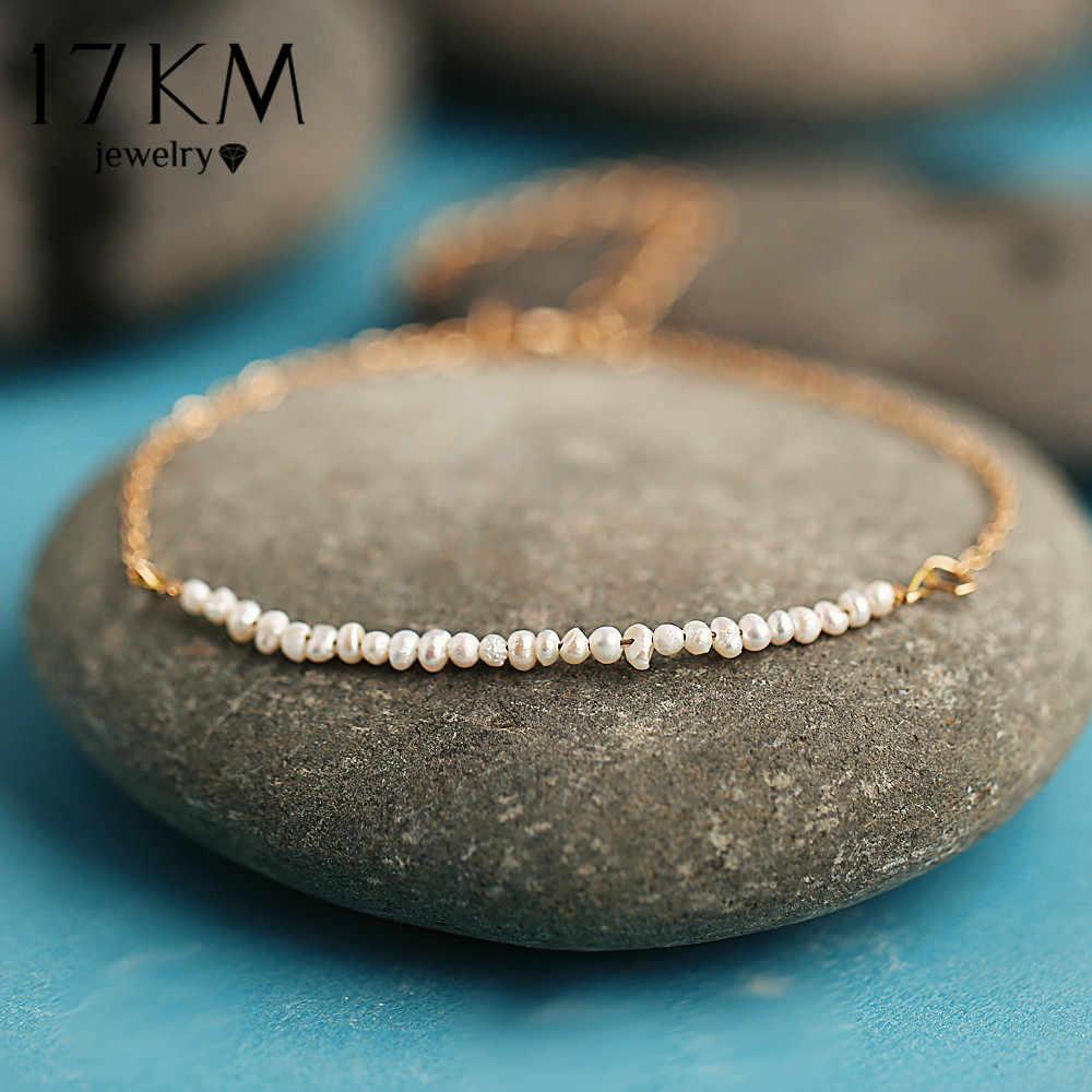 17 KM de perlas de moda pulsera de la amistad de las mujeres cadena de oro enlace deseo pulseras brazalete 2019 hecho a mano fiesta par joyería regalos