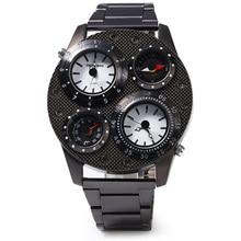 Muchachos de los hombres de Pantalla Dual de la Hora de Cuarzo Reloj de pulsera con Brújula Lienzo Nueva Banda Relogio Montre Orologio Uomo Horloge