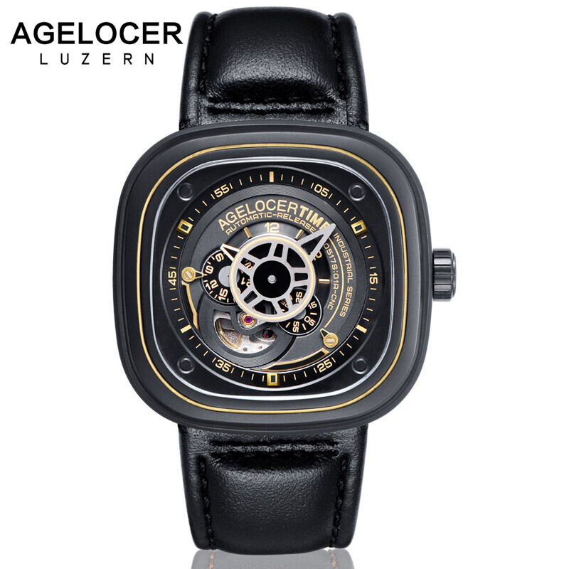 Agelocer Swiss Brand square men watch top quality relojes hombre 2017 Business Dress Casual Luxury sports watch mens steel agelocer brown watch a classic timepiece sport dual dial mens casual wristwatches wristwatch free shipping relojes para hombre