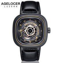 Agelocer Swiss Brand square men watch top quality relojes hombre 2017 Business Dress Casual Luxury sports