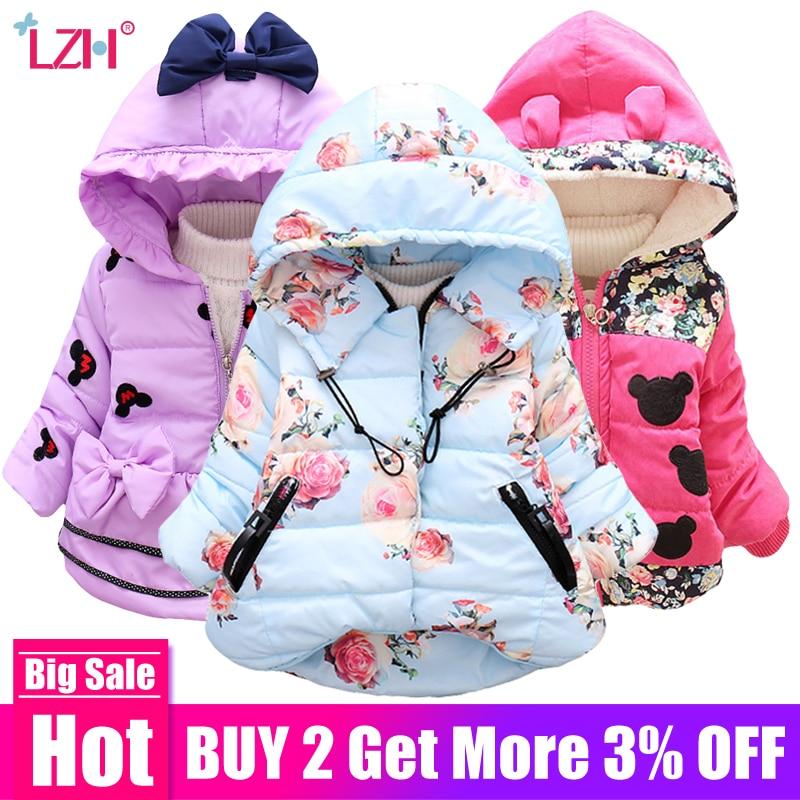 LZH Baby Girls Jacket 2019 Autumn Winter Jacket For Girls Coat Kids Warm Hooded Outerwear Coat For Girls Clothes Children Jacket