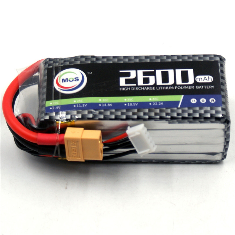 MOS 4S RC lipo battery 14.8v 2600mAh 25C For RC airplane drone quadcopter car batteria akku free shipping mos 5s rc lipo battery 18 5v 25c 16000mah for rc aircraft car drones boat helicopter quadcopter airplane 5s li polymer batteria