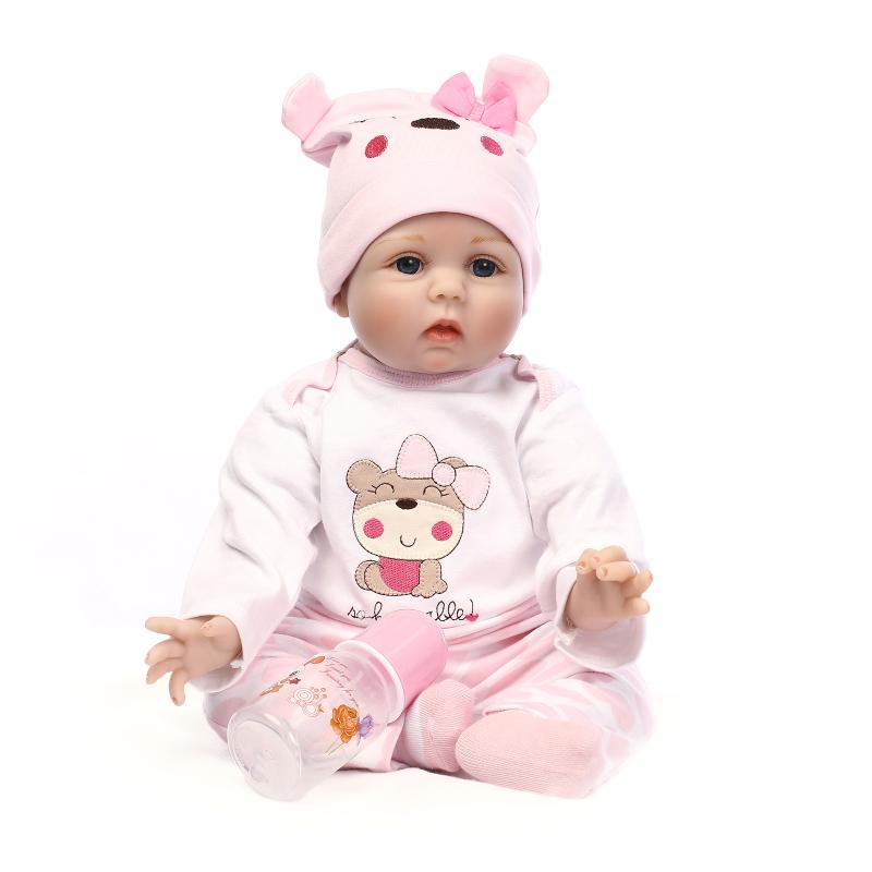55CM רך סיליקון רכה בובות עם בגדים ורודים 22 אינץ 'נולד מחדש צעצועים לתינוק חג המולד מתנות יום הולדת Brinquedos לילדים