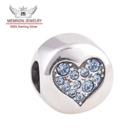 New Collection Blue Crystals Heart Bead With Word Balance 925 Sterling Silver Charms Fit European Silver