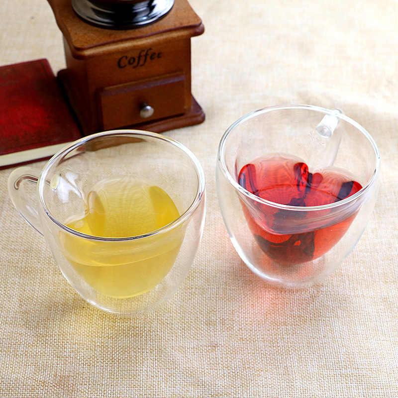 Caneca de vidro resistente de parede dupla, xícara de chá de leite, limão, xícara de vidro presente