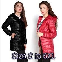 Высокое качество зимняя куртка женщины Куртка размер 6xl 5xl женские легкие куртки дамы с капюшоном ультра свет белая утка вниз куртка