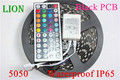 DC12V Black PCB LED Strip 5050 RGB +44Key IR remote cotroller  60 leds/m Black PCB Board waterproof strip light,5m/lot RGB