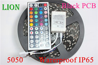 DC12V Black PCB LED Strip 5050 RGB +44Key IR remote cotroller 60 leds/m Black PCB Board waterproof strip light,5m/lot RGB