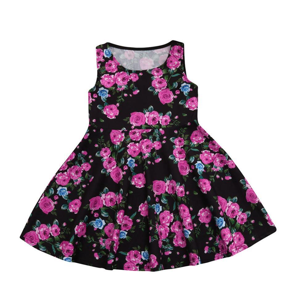 MUQGEW A Line Girls Princess Dress Toddler Girls Summer Clothing 2018 Vestidos Floral Print Sundress Baby Girls Summer Dress