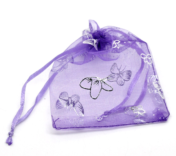 Organza Organza Jewelry Bags Drawable Rectangle Purple Butterfly Pattern 12cm X9cm(4 6/8