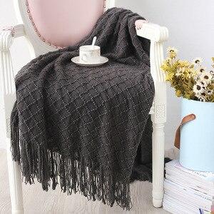 Image 5 - Knitted Throw Travel Blanket Grey Yellow Black Grey Sofa Throw Blanket Tassels Air Condition Blanket Diamond Acrylic 130x170cm