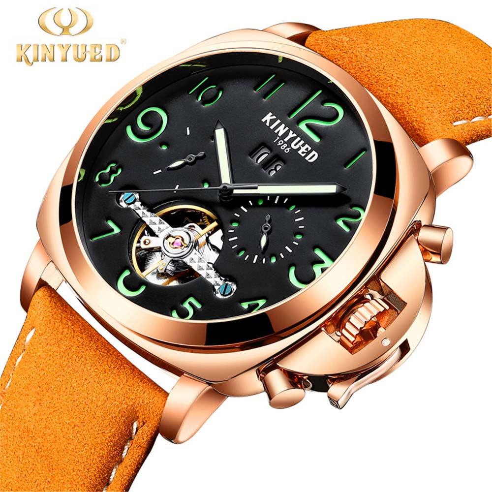 KINYUED 2018 New Fashion Watch Men's Skeleton Auto Mechanical Watches Wristwatch Gift Free Ship Relogio Masculino allenjoy camera photography 5x3ft wood floor backdrop horizontal backgrounds for baby and children professional photo booth